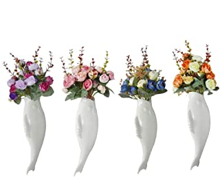 YWH-WH Designed 4pcs Home Decorative Ceramic Fish Shaped Flower Vase Wall Hanging Plants Vases Mural + Artificial Bouquet ...