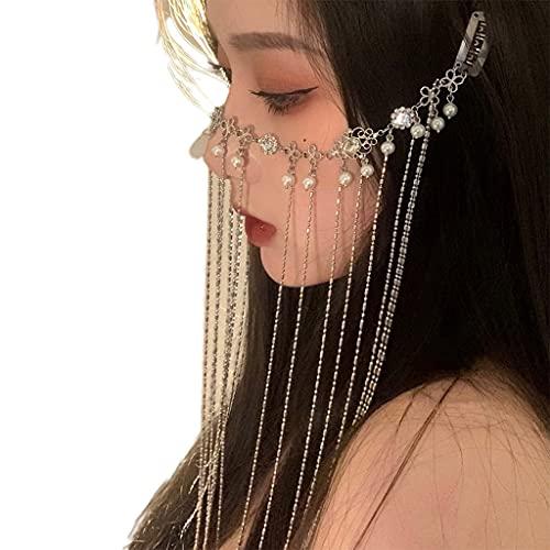 PHILSP Velo de borlas l con Perlas Múltiples Capas Cubierta de borlas Decoración de la Cara Pinza para el Cabello Magníficos Accesorios para espectáculos de Danza Plata