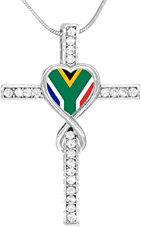 Flag of South Africa Cross Pendant Necklace for Men Women, Zinc Alloy Christian Religious Jewelry, 24 Inch Chain