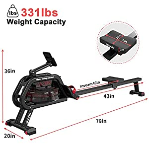 SNODE Water Rower with Bluetooth Rowing Machine Indoor Exercise Rower with Free APP, Soft Seat, Smooth Quiet Home Fitness Workout