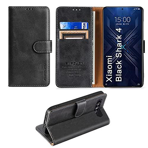 FMPCUON Handyhülle für Xiaomi Black Shark 4/Xiaomi Black Shark 4 Pro Hülle Leder,Premium Klapphülle Handytasche Flip Hülle Handy Hüllen Schutzhülle für Xiaomi Black Shark 4 (6.67 Zoll),Schwarz
