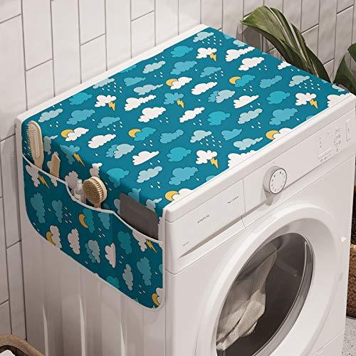 ABAKUHAUS Kindergarten Waschmaschinen-Organizer, Sky Regen-Wolken Bolts Sun, Anti-Rutsch-Stoffabdeckung für Waschmaschine und Trockner, 47 cm x 120 cm, Sea Blue Weißer Senf