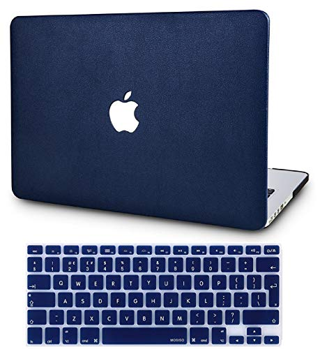 KECC Laptop Case for New MacBook Air 13' Retina (2020/2019/2018, Touch ID) w/ UK Keyboard Cover Italian Leather Case A1932 (Navy Blue Leather)
