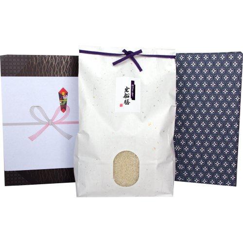 【夏ギフト】新潟県産コシヒカリ 3キロ(アイガモ農法)[米袋:白 包装紙:花菱]