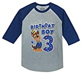 Paw Patrol Chase Boys 3rd Birthday 3/4 Sleeve Baseball Jersey Toddler Shirt 3T Blue