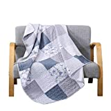SLPR Coastal Dream Cotton Patchwork Quilted Throw - 50' x 60' | Purple Lap Quilt for Couch and Bed