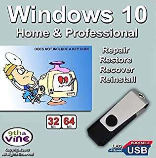 9th & Vine USB Flash Drive Compatible With Windows 10 Home & Professional 32/64 bit. Install To Factory Fresh, Recover, Repair and Restore Boot Disc. Fix PC or Laptop.
