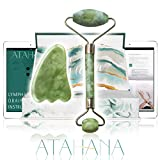 Jade Roller and Gua Sha Set - 100% Natural Jade Stone Roller & Gua Sha - Video Tutorial & Ebook Included - Real Jade Roller for Face