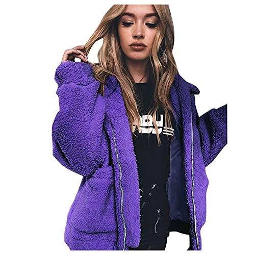 Wave166 Abrigo de invierno para mujer, de felpa, abrigo de invierno, chaqueta de entretiempo, chaqueta con capucha, con bolsillos, chaqueta clásica para mujer con capucha, morado, S