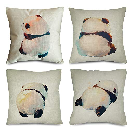 QiRung Lovely Panda Cushion Covers set of 4, Cotton Linen Decorative Throw Pillow Covers Pillow Cases for Sofa 45x45cm