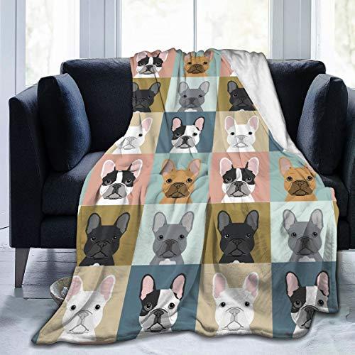 XTGOO French Bulldog Dog Cute Ultra-Soft Fleece Blanket Flannel Velvet Plush Throw Blanket, 50x40 in