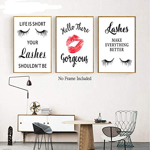 Inspirational Typography Painting Fashion Women Art Print, Beautiful Lashes Lips Print Cardstock Art Poster Makeup Lover Gift Wall Art Decor (set of 4, 8'' x 10'',Unframed)
