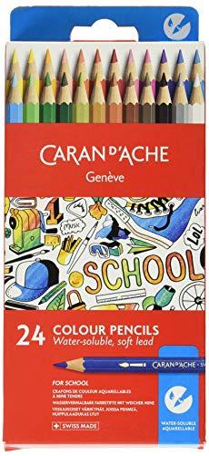 Caran d'Ache School - Matite colorate acquerellabili, 24 pezzi