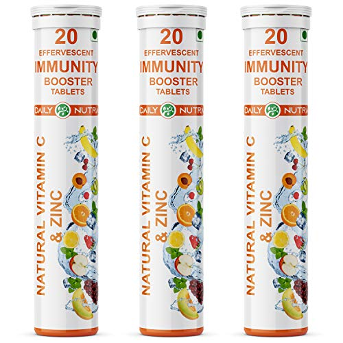 DAILY NUTRA Natural Vitamin C 1000mg & Zinc Supplement Made with Natural Amla Extract For Powerful Antioxidant and Immunity, Orange Flavour - 60 Effervescent Tablets
