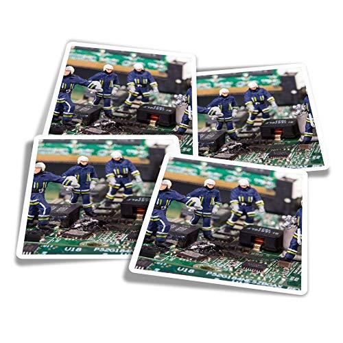 Pegatinas de vinilo (juego de 4) 10 cm – Miniatura Bomberos en Ordenador Divertidos Calcomanías para Portátiles, Tabletas, Equipaje, Reserva de Chatarra #21886