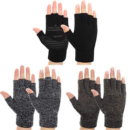 3 Pairs Winter Half Finger Knit Glove Stretchy Anti-Slip Fingerless Mitten...