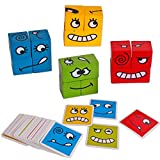 Wooden Face-Changing Cube Building Blocks Expressions Matching Block Puzzles Building Cubes Toy Educational Montessori Toys for Kids Ages 3 Years and Up
