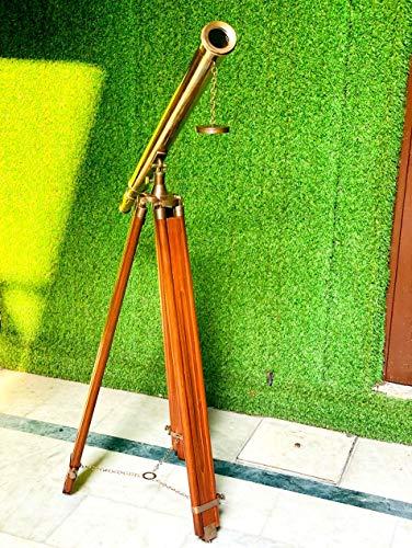 Kelvin & Hughes - Telescopio de trabajo náutico hecho a mano con trípode de madera para decoración del hogar