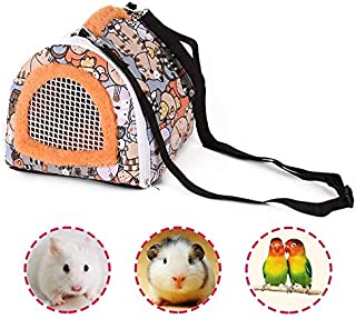 Small Pets Carrier Bag, Portable Rats Sugar Glider Guinea Pig Chinchillas Hamster Hedgehog Outdoor Travel Carrier Pouch Bag, Small Animals Breathable Hanging Tote Bag with Detachable Strap Zipper