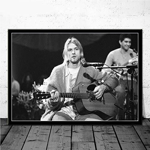 SQSHBBC Kurt Cobain Rockmusik Band Musik Sänger Star Wandkunst Bild Poster und Drucke Leinwand Malerei für Raum Wohnkultur A2 60x90cm No Frame