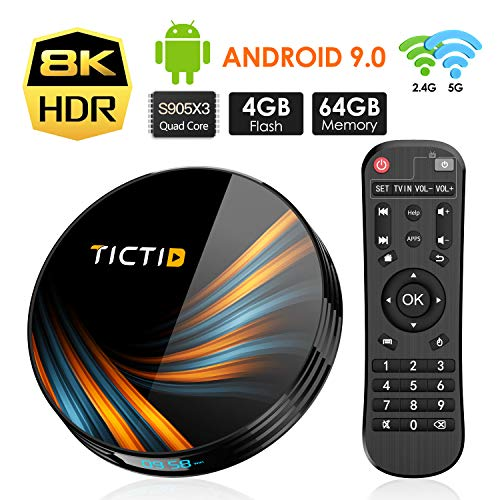 Android 9.0 TV Box 4GB RAM 64GB ROM, TICTID TX6 Plus Android TV Box S905X3 Quad-Core with 8K4K UHD H.265 1000M RJ45 Dual-WiFi 5G/2.4G, BT 4.0, USB 3.0 Smart TV Box