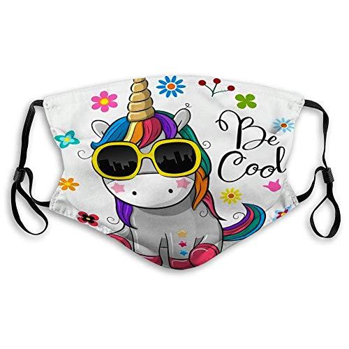 Mundschutz Gesichtsschutz Anit Staubschutz Nettes Cartoon Einhorn mit Sonnenbrille