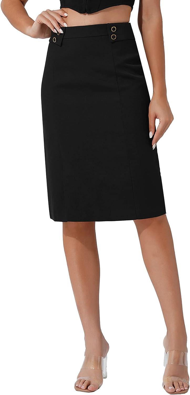 CHICTRY Women's High Waist Bodycon Slim Fit Midi Work Office Knee Length Pencil Skirt