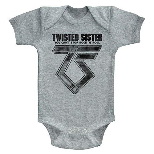 American Classics Twisted Sister Heavy Metal Band Can't Stop RockNRoll bebé bebé Snapsuit Romper - Gris - 6 Meses