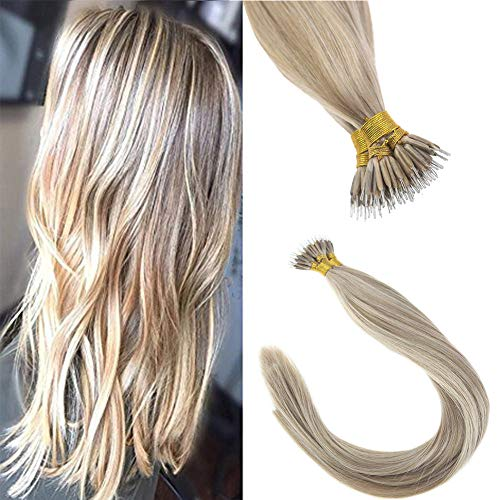 Sunny 18inch Nano Ring Bead Extensions Human Hair 1g/Strand Blonde Highlight Remy Straight Nano Tip Hair Extensions 50g/pack