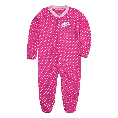 NIKE Children's Apparel Baby Graphic Footed Coverall, Laser Fuchsia Dot, 0/3M