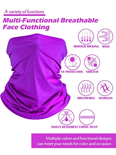 Hicarer 8 Pieces Summer Face Cover Breathable Thin Neck Gaiter UV Protection Elastic Face Cover Scarf for Outdoor Driving Fishing (Solid Colors)