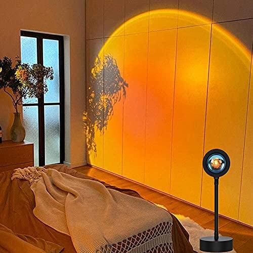 Sunset Projection Lamp Rotación de 360° Rainbow Lámpara de Noche con USB, Lámpara Romántica de Ambiente para Salón, Dormitorio, Decoración (Sunset Red)