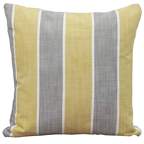 Linen Loft Canvas Stripe Filled Cushion. Wide Width Ochre Yellow and Grey Pillow. 17x17 (43cm) Double Sided. Heavyweight 100% Cotton Canvas. (Synthetic filled)