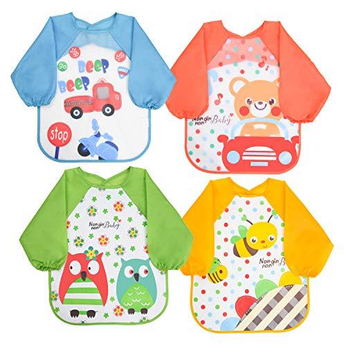 Vicloon Babero de Manga Larga de Bebé, Baberos Bebe Impermeables para Pintar con Mangas EVA Impermeable Delantal de Bebé, Unisexo Niños Niñas (0-36 meses)