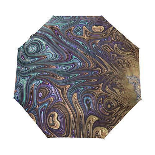 DEZIRO Fractal Kunst-Bild, 3-Fach faltbar, Regenschirm, automatisches Öffnen, Winddicht, wasserdicht