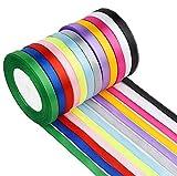 Cinta de Raso, Rollo de Raso de Doble Cara Satén de Seda 12 Colores Cinta de Tela para Embalaje Decoración de Regalo Cajas Flores Boda Navidad - 10mm