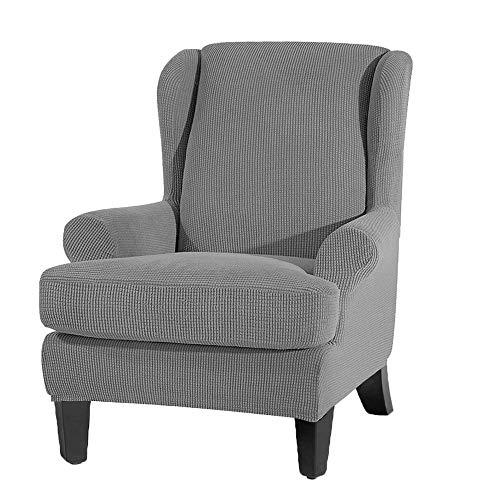 JTWEB Ohrensessel Schonbezug Ohrensessel Bezug,Elastische Sesselbezug Sesselüberwurf Sofaüberwurf Stretch Schutzhülle Elastisch Stretch Husse für Ohrensessel (Grau)