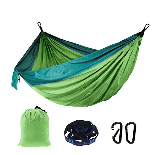 BLING Camping Hammock - Lightweight Nylon Portable Hammock, 270x140cm Best Parachute Double Hammock for Backpacking, Camping, Travel, Beach, Yard