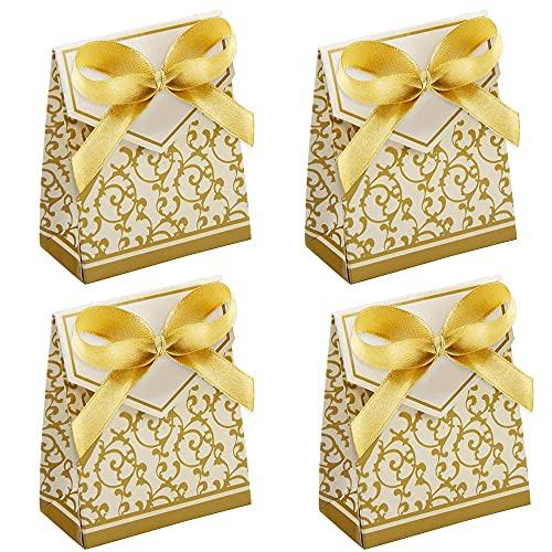 50 Piezas Caja de Dulces, Caja de Dulces de Boda, Cajas de Regalo de Dulces, Caja de Regalo de Fiesta, Caja de Dulces de Papel, para Dulces, Bodas, Cumpleaños, Navidad, Baby Shower (Dorado)