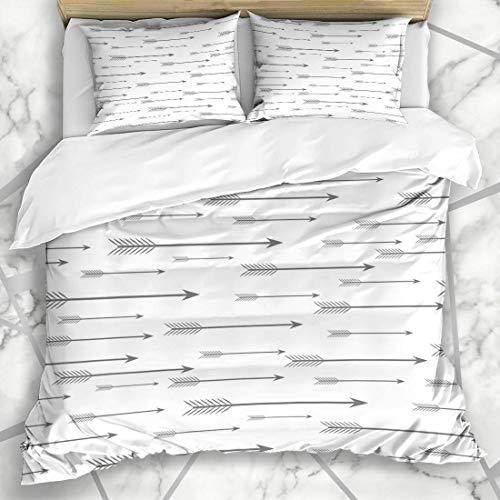 Soefipok Bettbezug-Sets TIPP Silber Afrika Muster Pfeile fliegen Vintage grau Antik Bogenschießen Boom Armbrust Kultur Design Mikrofaser Bettwäsche mit 2 Pillow Shams