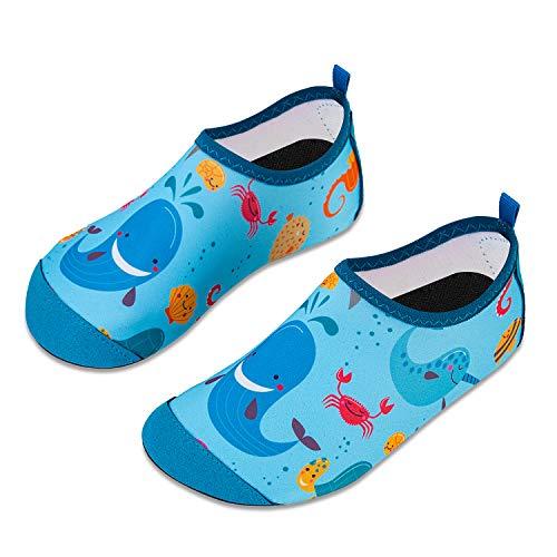 HMIYA Kinder Badeschuhe Wasserschuhe Strandschuhe Schwimmschuhe Aquaschuhe Surfschuhe Barfuss Schuh für Jungen Mädchen Kleinkind Beach Pool(Blauwal,26/27)