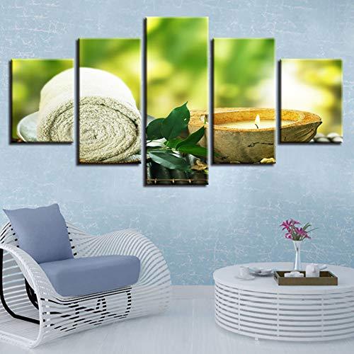 GIAOGE schilderij canvasfoto's wooncultuur HD afdrukken 5 stuks handdoek blad kaars schilderijen spa massage poster modulaire woonkamer muur kunst frame Frame 30 x 40 30 x 60 30 x 80 cm.