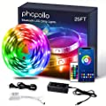 Phopollo LED Lights 25ft Bluetooth RGB Led Light Strip for Bedroom with App Controller Color Changing 5050 LED Rope Lights Strip Sync to Music Lighting Kitchen Bed Flexible Strip