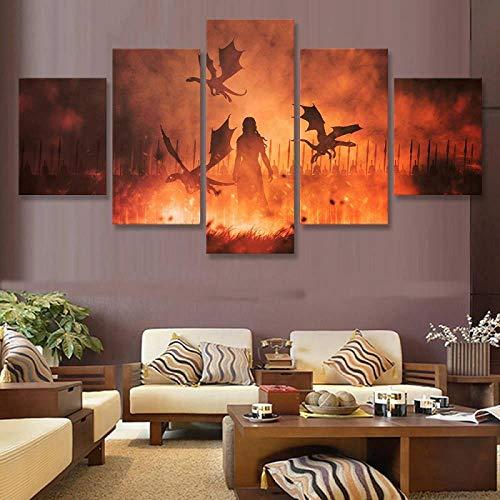 ZDDBD Cuadros Impresos Cuadro sobre Lienzo para Pared 5 Paneles Juego de Tronos Daenerys Targaryen decoración del hogar Nuevo póster de TV Modular