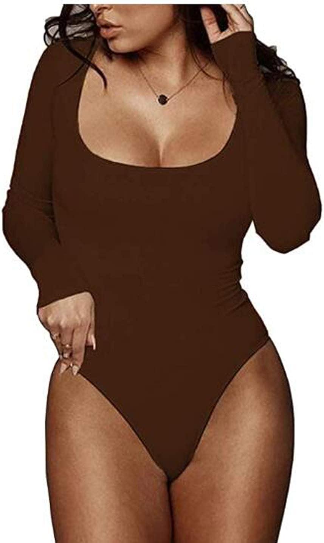 PALINDA Women's Scoop Neck Long Sleeve Stretchy Basic T Shirt Bodysuit Tops