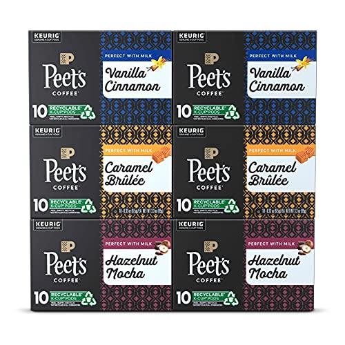 Peet's Coffee, Flavored Coffee Variety Pack - 60 K-Cup Pods for Keurig Brewers (6 Boxes of 10 K-Cup Pods), Vanilla Cinnamon, Hazelnut Mocha, Caramel Brûlée, Light Roast