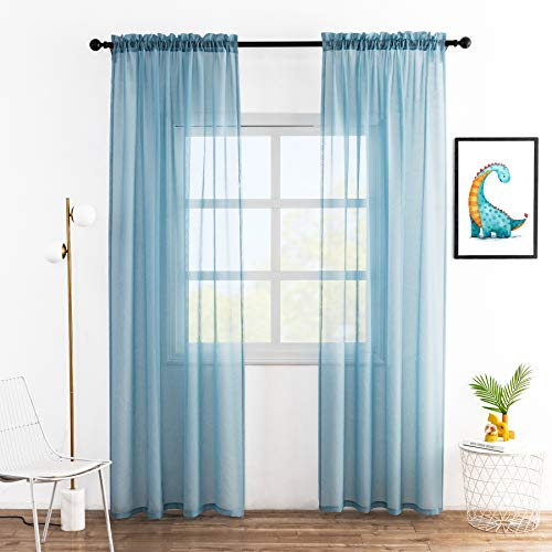 Anjee Sheer Curtains Faux Linen Texture 84 inches Long 2 Panels Rod Pocket Semi Sheer Gauze Voile Drapes Window Treatment for Bedroom Living Room, Light Blue 52 x 84 Inches