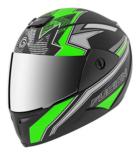 Gliders. Fusion D3 Full Face Helmet (Matt Black with Fluorescent Green Decor, Mirror Visor, 580 mm)