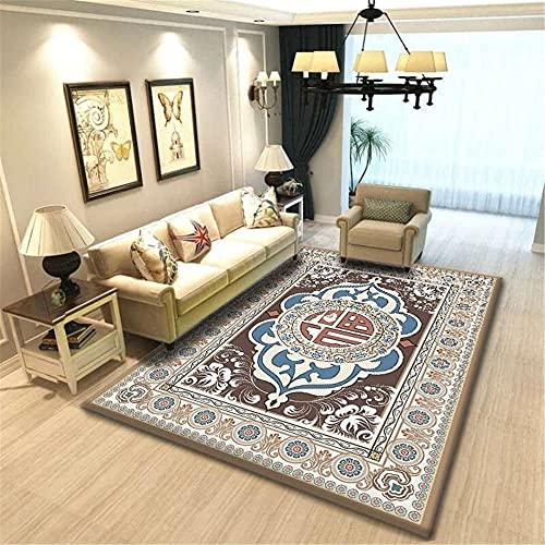 CCTYJ Patrón étnico Oriental Tradicional marrón y Azul, Resistente a la Suciedad y en la habitación de la Cama de la Cama de la Cama de la Cama del Dormitorio.-50x80cm Calidad Precio re