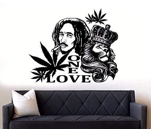 Vinyl Wandtattoo Bob Marley Lion Reggae Musik Wandkunst Wandbilder Abnehmbares Poster Home Art Decor 69 * 57Cm